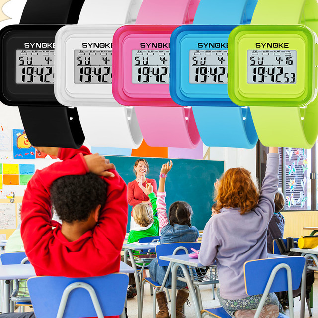 Digital Watches Children Boys Student Waterproof Sports Multi-Function Watch LED Date Double Action Rubber Wrist Watch 2018