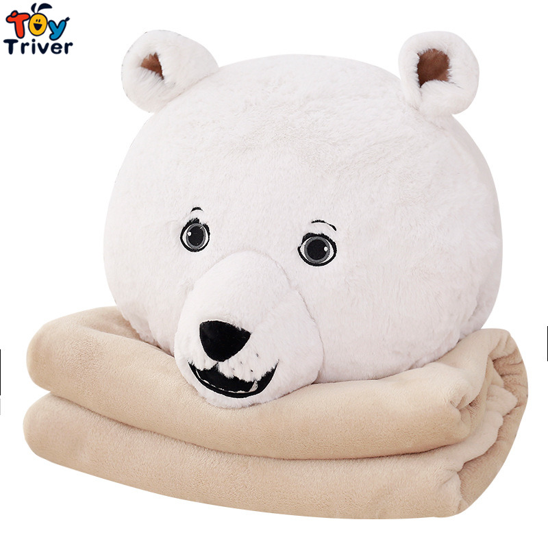 Plush Penguin White Polar Bear Portable Blanket Hand Warm Cushion Toy Doll Baby Kids Shower Car Office Nap Carpet Birthday Gift пинетки митенки blue penguin puku