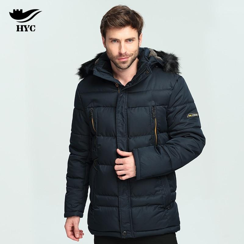 HAI YU CHENG Parka Men Winter Jacket Men Nylon Quilted Jacket Windproof Warm Wind Breaker Jacket Pilot Coat Men Anorak Male Coat