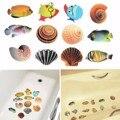 Adesivo de parede DIY Azulejo Chuveiro Do Banheiro Peixes Dos Desenhos Animados Para Crianças de Banho Do Bebê Crianças Adesivos Oceano Sea Shell