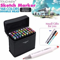 Touchnew 168 Colors Set Artist Dual Head Sketch Markers Set For Eco Friendly School Supplies Marker