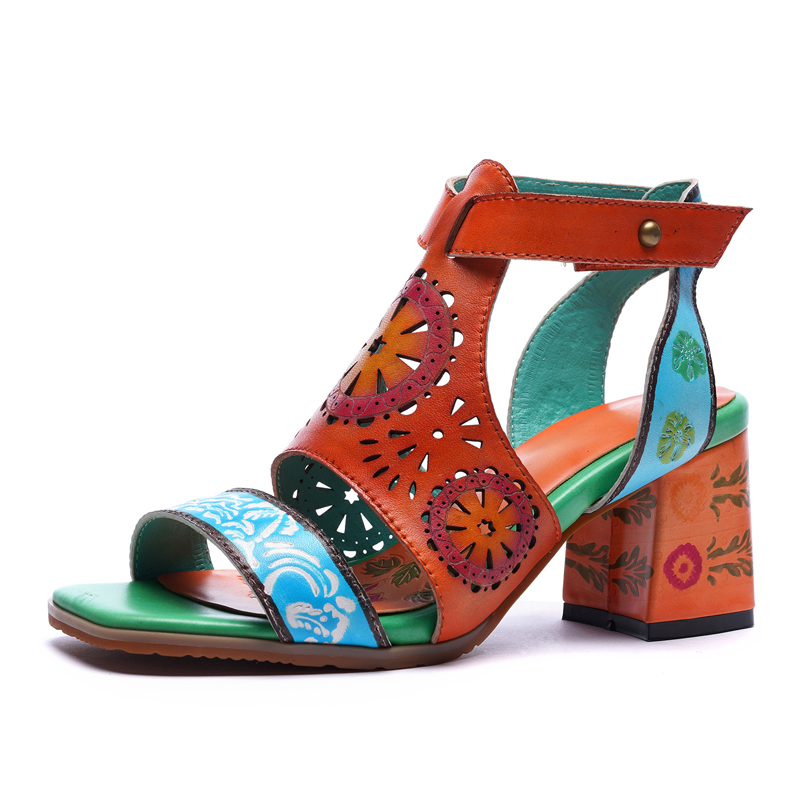 Sandals women sandals summer women shoes high heels genuine leather shoes female sheepskin ethnic hand painted