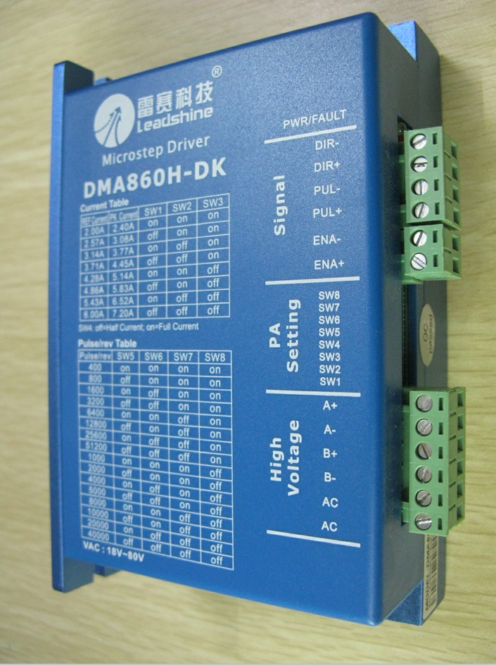Leadshine 2 phase 24V-80VDC/18V-80VAC Step motor Driver DMA860H-DK cnc Router step motor drive 3 phrase leadshine 573s15 step motor