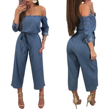 Hot sale casual women s wide legged pants sell sexy long sleeved tied jeans