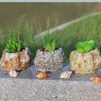 Mini Home Furnishing Articles Succulent Plants Stone Flower Pot Simulation Stones DIY Gardening Ideas Factory Direct