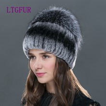 LTG FUR 2017 new fashion  women winter   hat for   with fox fur top female elastic knitted cap Winter women rex rabbit fur hat