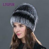 LTG FUTRO 2017 new fashion kobiety czapka zimowa dla z lisa futro góry kobiet elastycznej dzianiny czapka Zimowa kobiet rex królik futro kapelusz