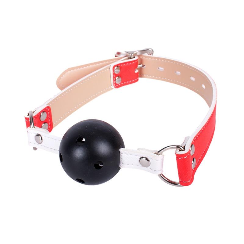 Buy Open Mouth Gag PU Leather BDSM Bondage Restraints Head Harness Hollow Ball Gag S&M Slave Flirting Sex Toys Women Adult Game