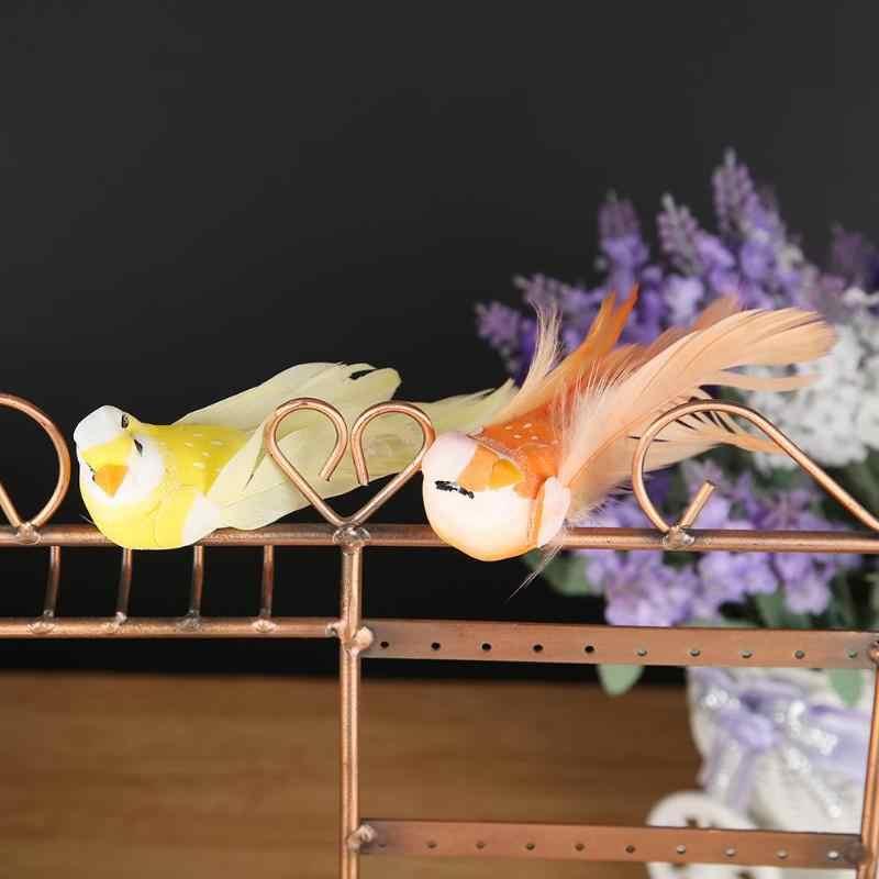 6pcs/Set Lifelike Beads Simulation Foam Mini Birds Model Miniature Ornament Wedding Home Garden Decoration
