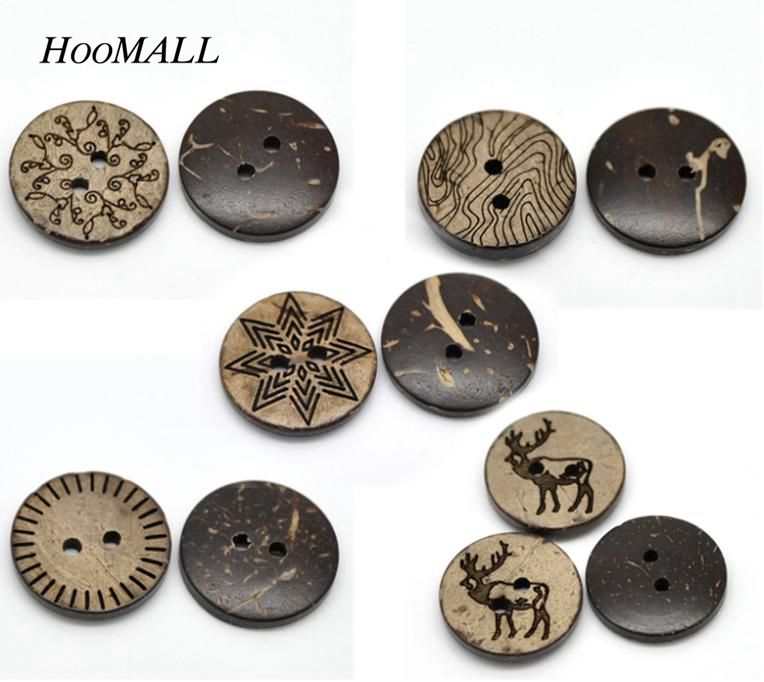 hoomall 100pcs mixed pattern coconut shell 2 holes sewing. Black Bedroom Furniture Sets. Home Design Ideas