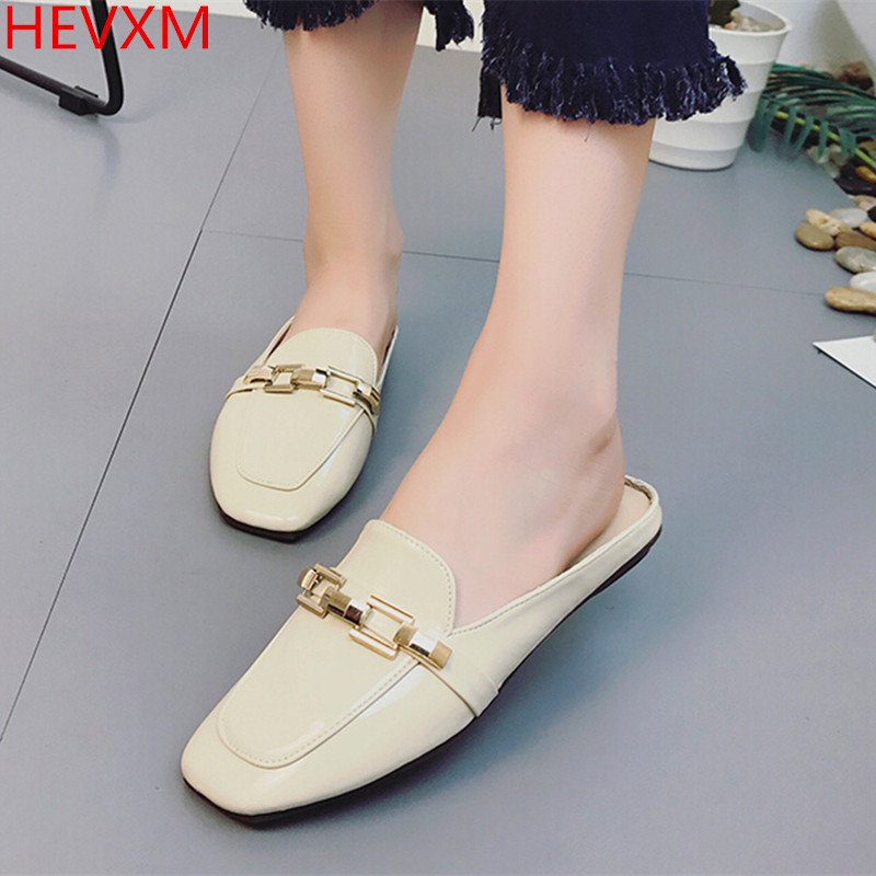 HEVXM 2017 Korean version new ladies fashion Baotou flat bottom chain flat sandals female casual pass professional wild shoes hevxm 2017 spring new ladies fashion casual flat bottom high white shoes women hollow comfortable breathable embroidered shoes