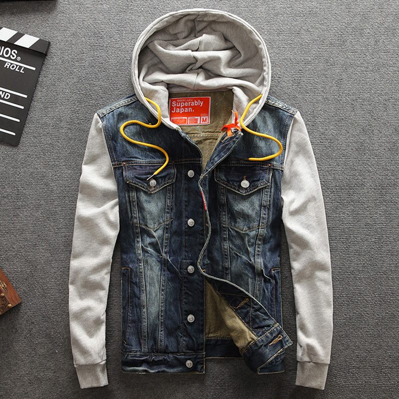 Classical Fashion Men 39 s Jackets Hooded Korean Style Cotton Denim Jackets Men Coat Spliced Sleeve Simple Good Quality Wild Jacket in Jackets from Men 39 s Clothing