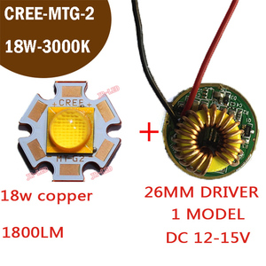 1PCS XLamp CXA MT-G2 MTG2 18W 18V 1A Warm White 3000k 20mm Copper plate With the18w Driver Board