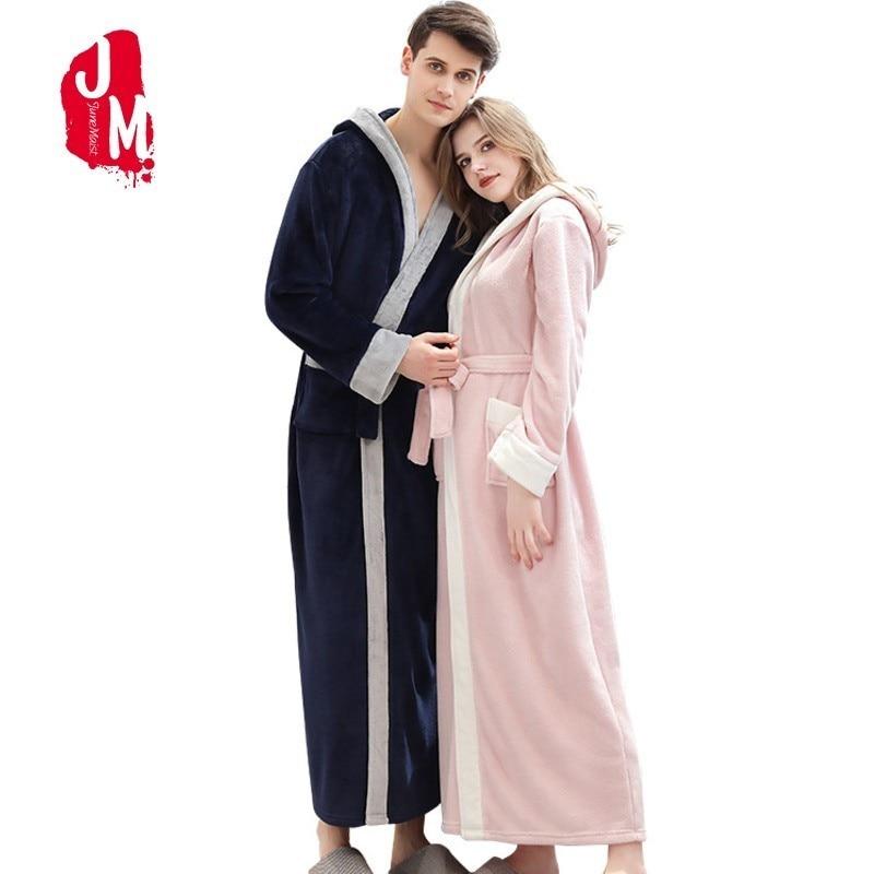 Winter Ankle-Length Warm Robe Thick Men Women Coral Fleece Kimono Bathrobe Lovers Couple Nightgown Gown Sleepwear Long Nightwear