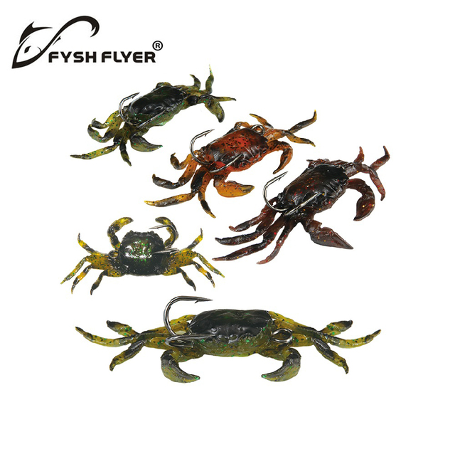 5pcs Lifelike Artificial Soft Fishing Lures Crab Bait With Sharp Hooks, Fishing Tackle Accessory Tool, Free shipping CR100