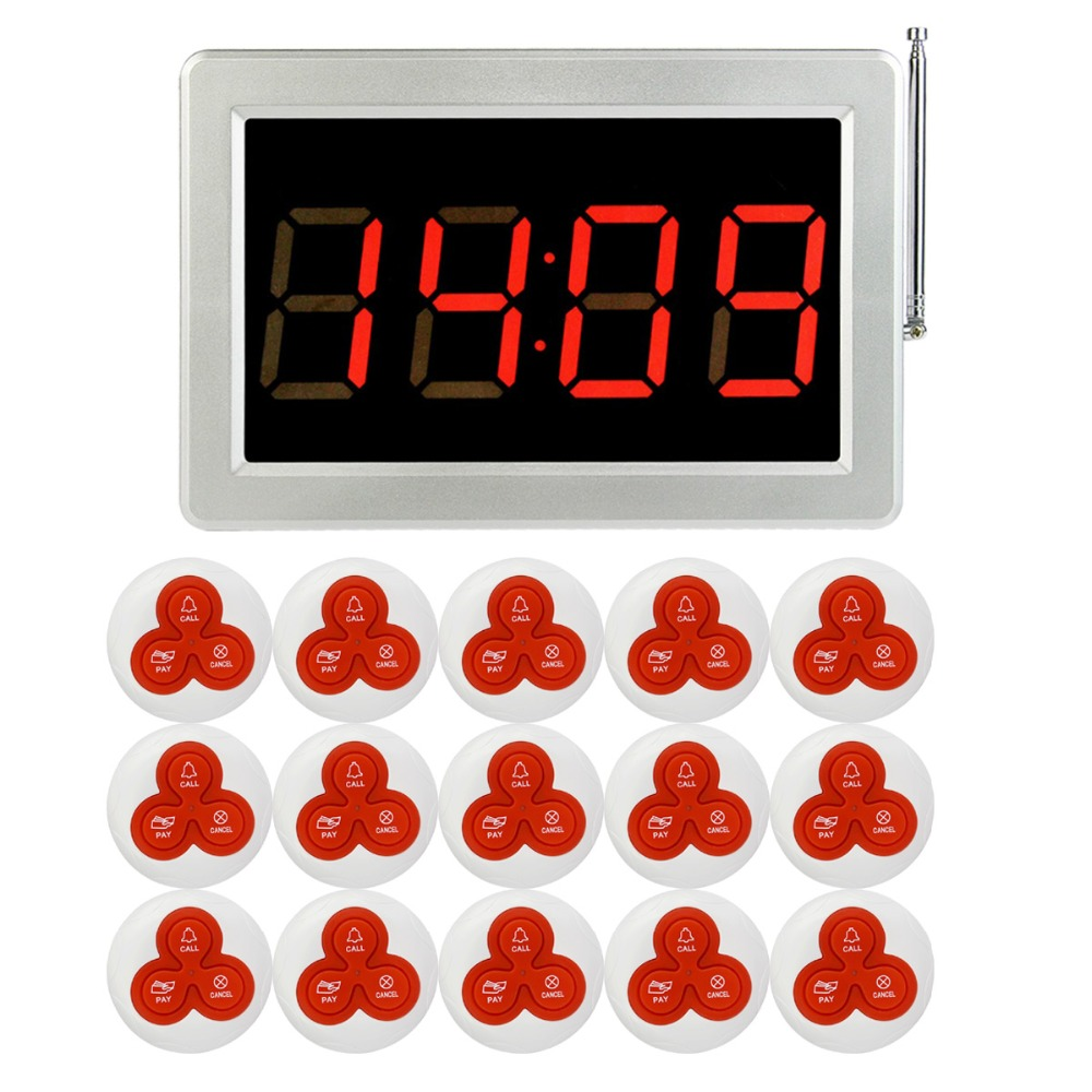 Wireless Restaurant Calling Paging System 1 Receiver Host +15 Transmitter Bell Call Button Restaurant Equipment F3290D 20pcs transmitter button 4pcs watch receiver 433mhz wireless restaurant pager call system restaurant equipment f3291e