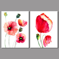 2016 Fashion New Promotion 2pcs Flower Decoration Corn Poppy Canvas Painting On Wall Hanging Combinat