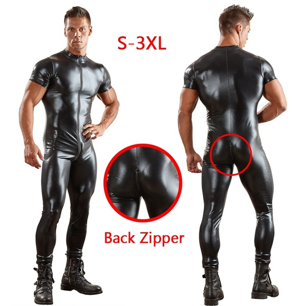 Latex Men Jumpsuits Leather Stretchy Tights Rompers Wet Look Liquid Latex Costume
