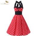 Diseño Halter Rojo Vestido de Las Mujeres 1950 s 1960 s Oscilación Rockabilly Retro Vintage vestido de Algodón de Verano Vestido de Fiesta Más El Tamaño XXL Pin Up 149