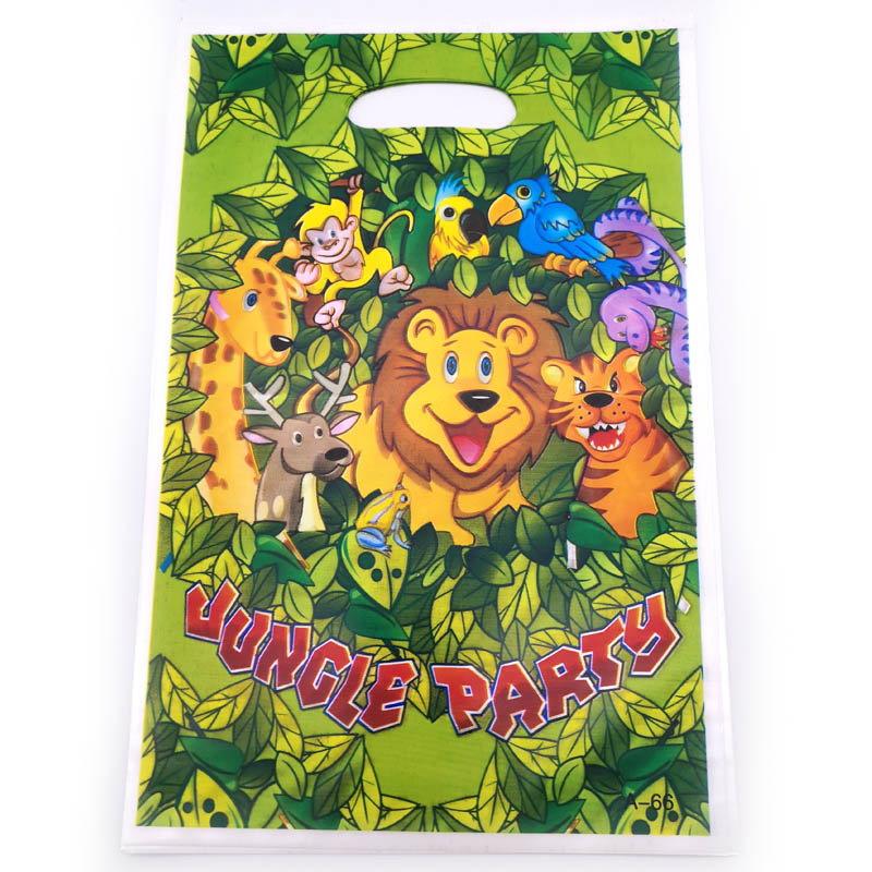 10PCS Kids Favors Gifts Bags Happy Birthday Party Decoration Baby Shower Jungle Animal Theme Plastic Loot Bags Events Supplies