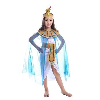 Египетская царица Клеопатра для девочек, детский маленький королевский карнавальный костюм, чтобы быть мощной линейкой на Хэллоуин >> Memune Costumes Store