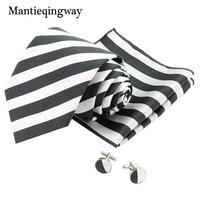 Mantieqingway Black White Stripes 8 5cm Neck Tie Cufflink Set Formal Suit Tie Set For Men