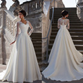 Vestidos De Noiva 2015 New Sexy A Line Appliques Lace Wedding Dresses Long Sleeves Bridal Gown For Wedding&Events