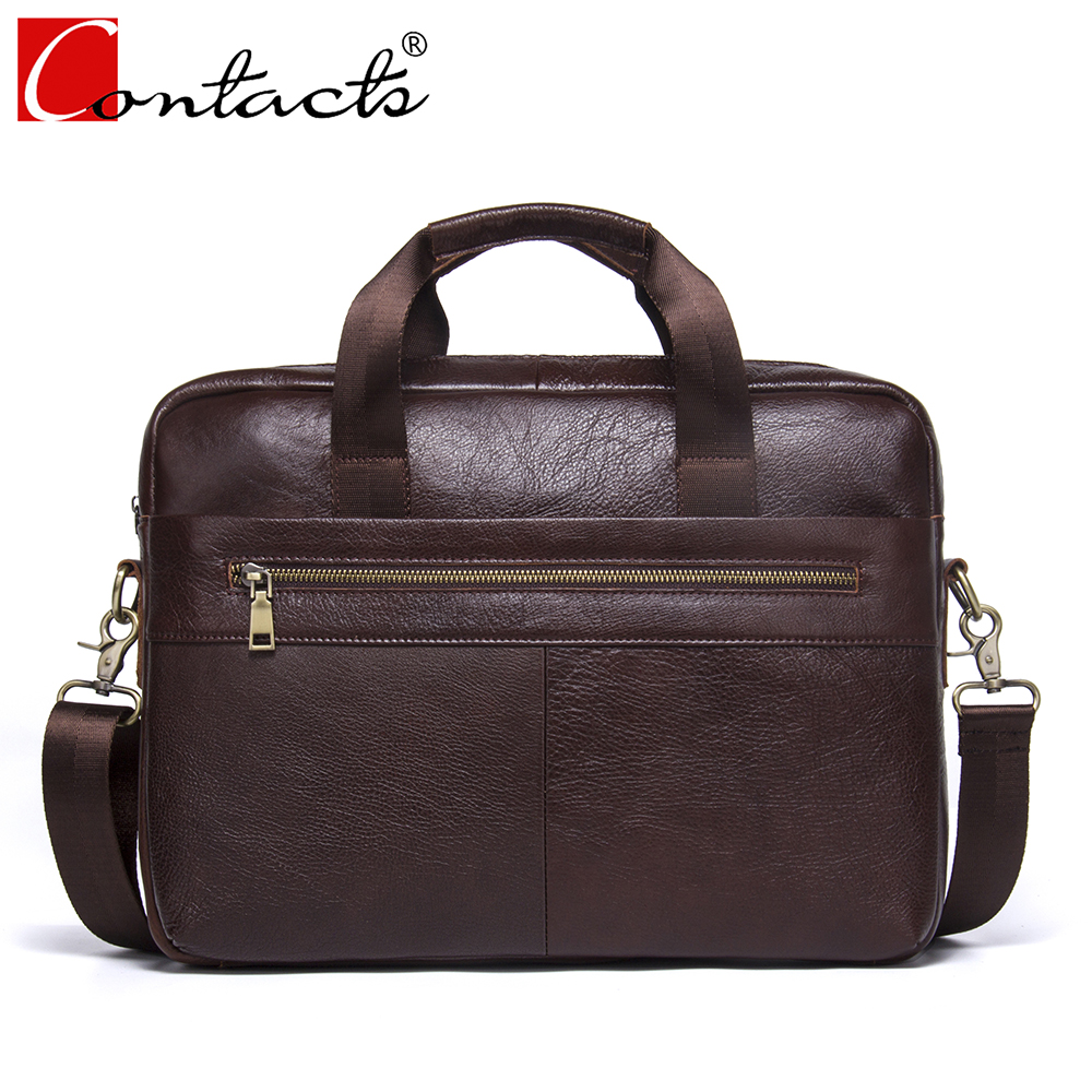 CONTACT'S Hot sale Business Genuine Leather Men Briefcase Cowhide Men Messenger Bags Laptop Business Bags Luxury Lawyer Handbag цена и фото
