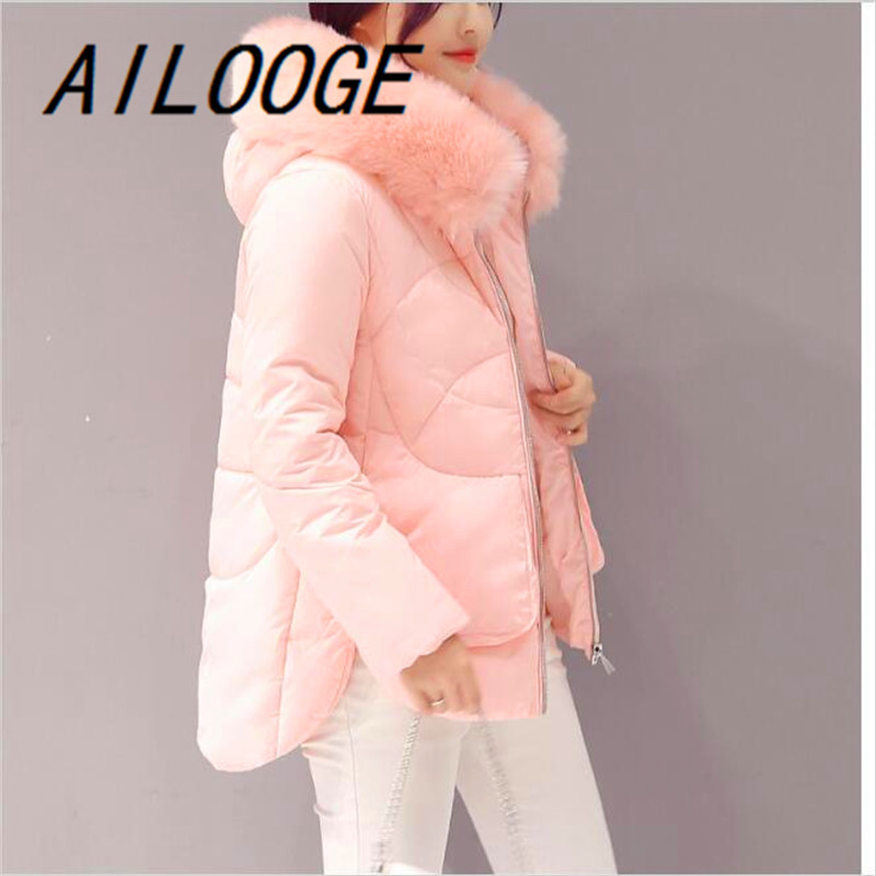 AILOOGE 2017 Winter Jacket Women Large Fur Collar Down Wadded Jacket Female Cotton padded Jackets Thickening