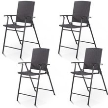 4 Pcs Rattan Steel Wicker Folding Chairs Outdoor Garden Chairs Patio Furniture HW52885(China)