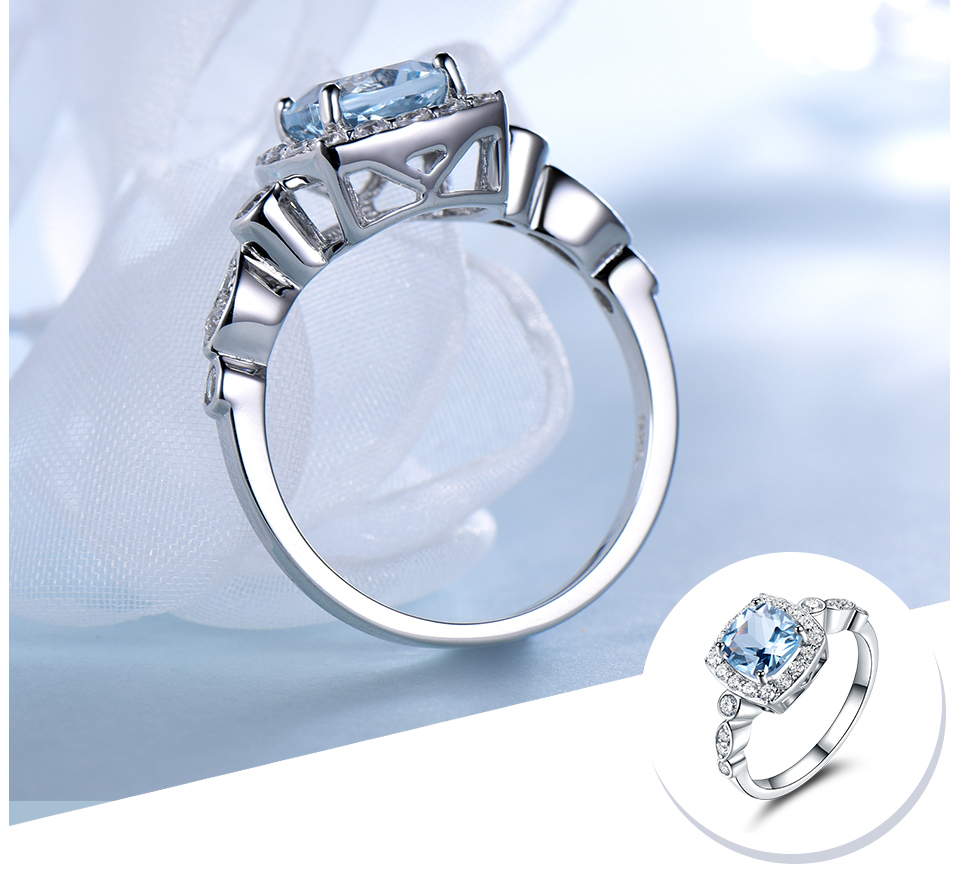 HTB1d0y3eB1D3KVjSZFyq6zuFpXaw UMCHO Real S925 Sterling Silver Rings for Women Blue Topaz Ring Gemstone Aquamarine Cushion Romantic Gift Engagement Jewelry