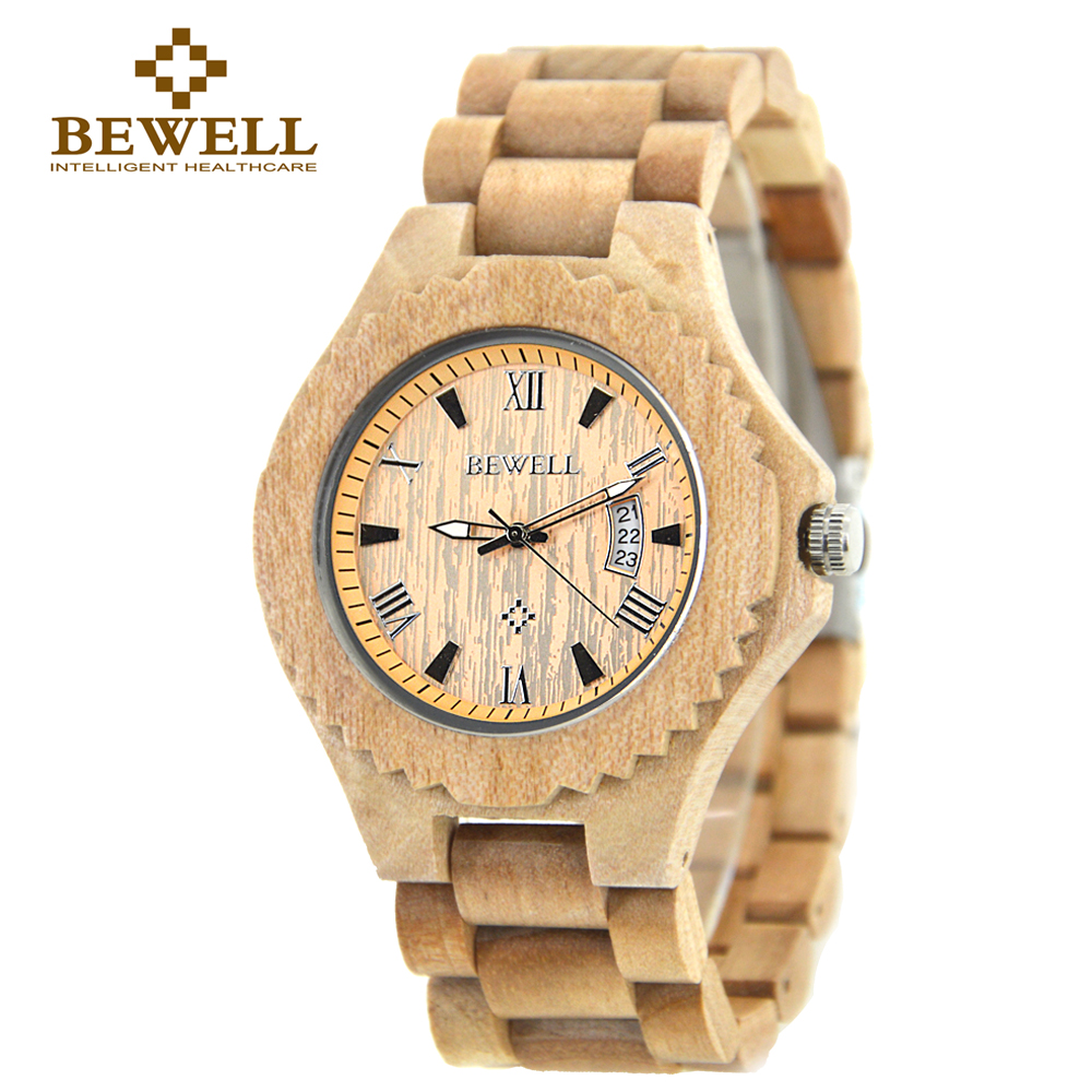 Подробнее о BEWELL Wood Watch Men Analog Display Date Quartz Wooden Wristwatch Relogio Masculino Watch Fashion Montre Homme With Box 129A relogio masculino men s natural wooden wristwatch wood watch quartz with date with box business watch men watch