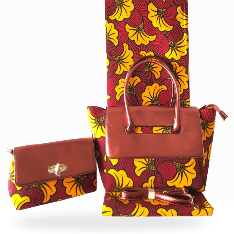 New design african wax bags set,6 yards  dutch prints fabric 100%cotton With Leather Patchwork fashion Handbags HF01193New design african wax bags set,6 yards  dutch prints fabric 100%cotton With Leather Patchwork fashion Handbags HF01193