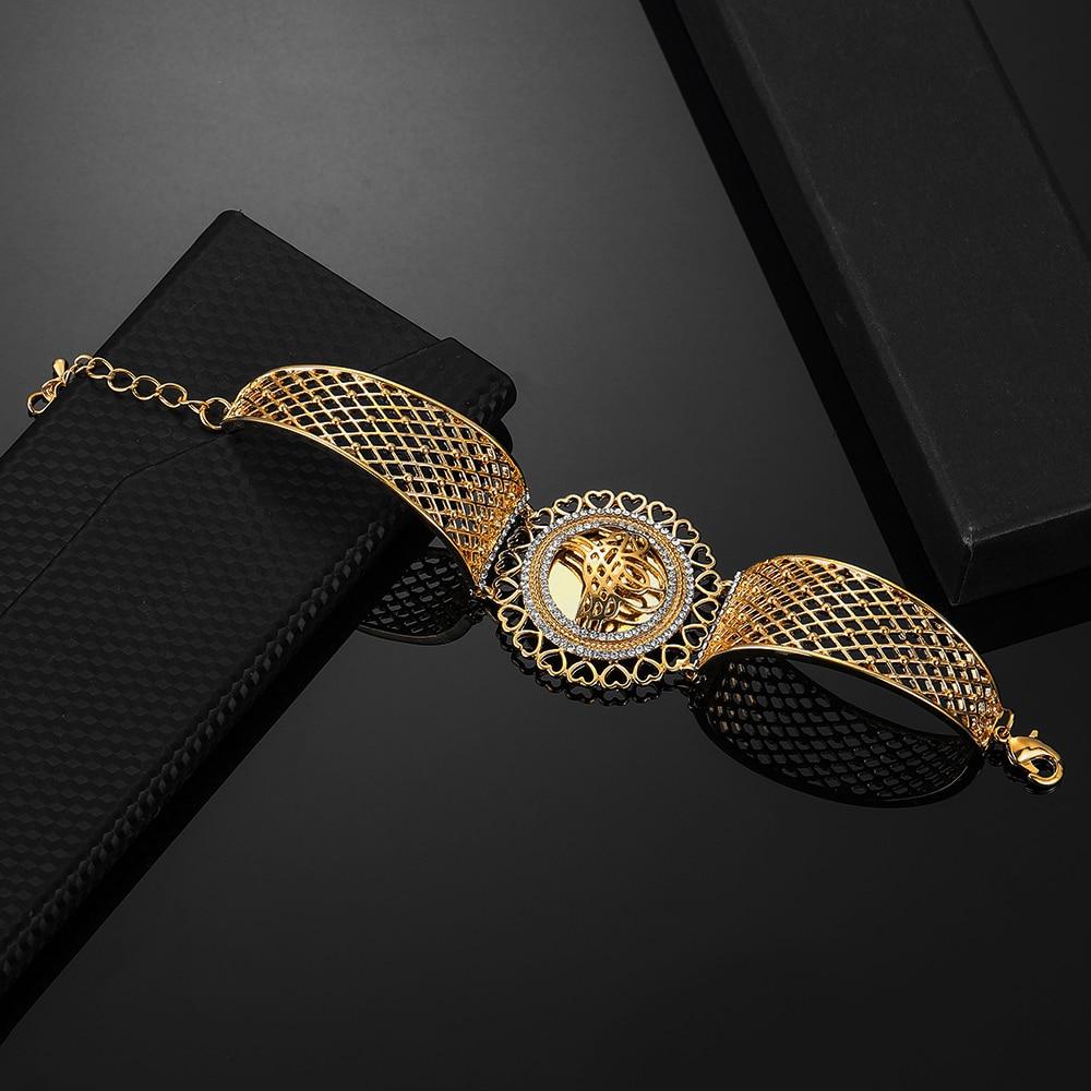 Arab Allah Bracelet Vintage Gold Color Flower Wide Cuff Bangle Muslim Islam Wedding Gift Middle East Jewelry Bracelets