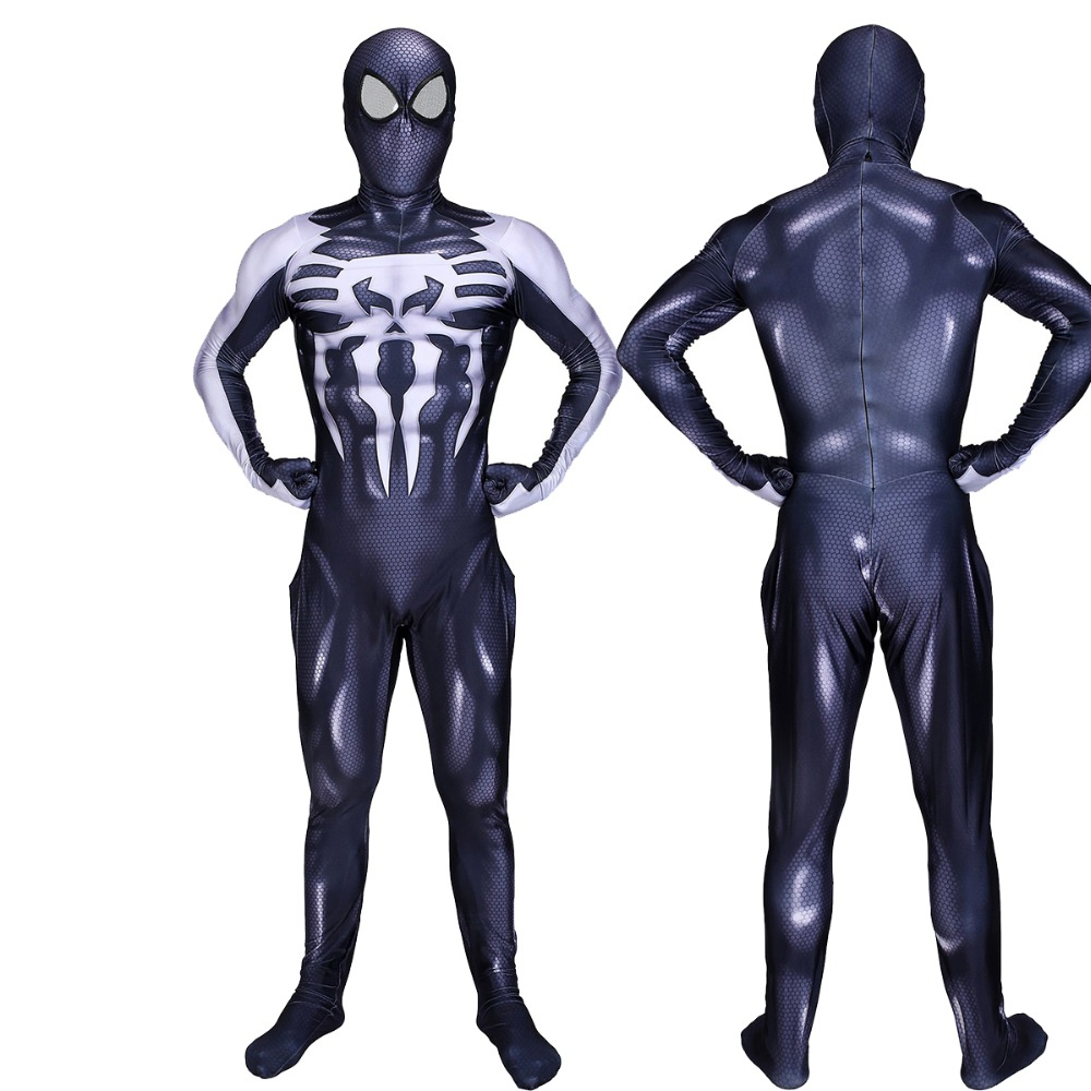 Venom Spider-man Spandex 3D Printed Black Venom Symbiote Spiderman Costume Adult Fullbody Zentai Suit For Halloween Cosplay MASK
