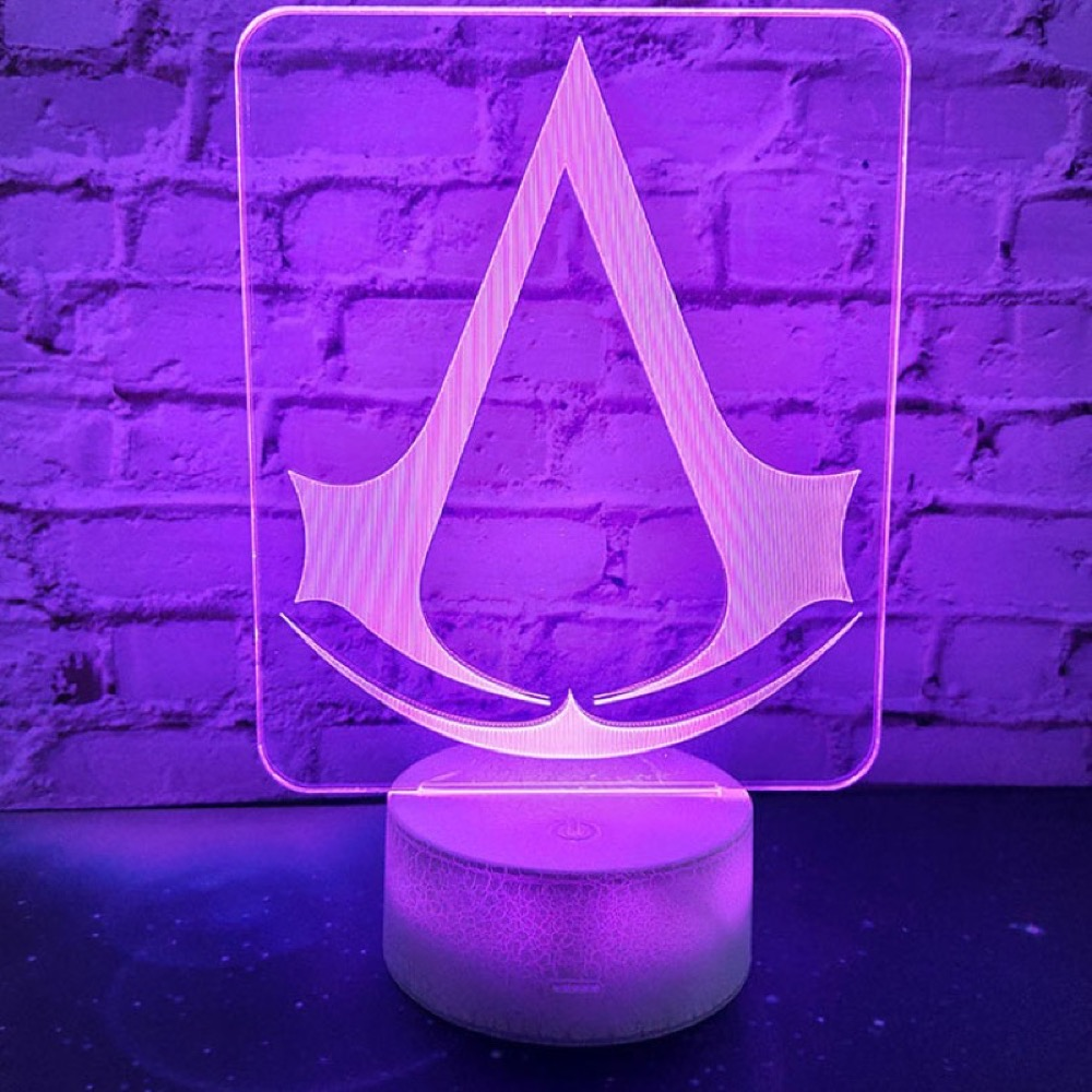 Game Assassins Creed Logo 3d Lamp Nightlight Gift For Kids Bedroom Decor Color Changing Child Study Room 3d Led Night Light Lamp