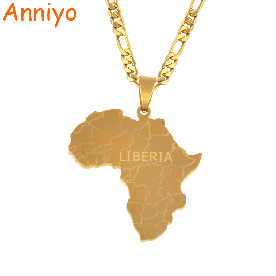 Anniyo Africa Map With LIBERIA Pendant Necklaces Gold Color Jewelry For Women Men African Maps Jewellery Gifts #042221Anniyo Africa Map With LIBERIA Pendant Necklaces Gold Color Jewelry For Women Men African Maps Jewellery Gifts #042221