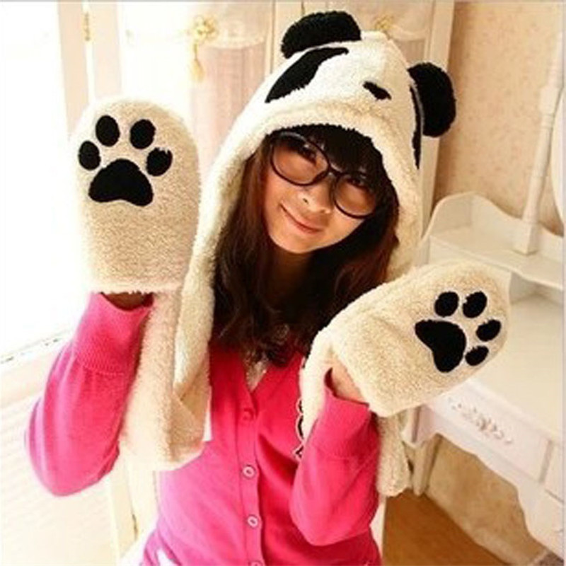 High Quality Thick Warm Plush Cute Cartoon Panda Hat Scarf Gloves (color: White) Hot Sale Good Reputation Over The World
