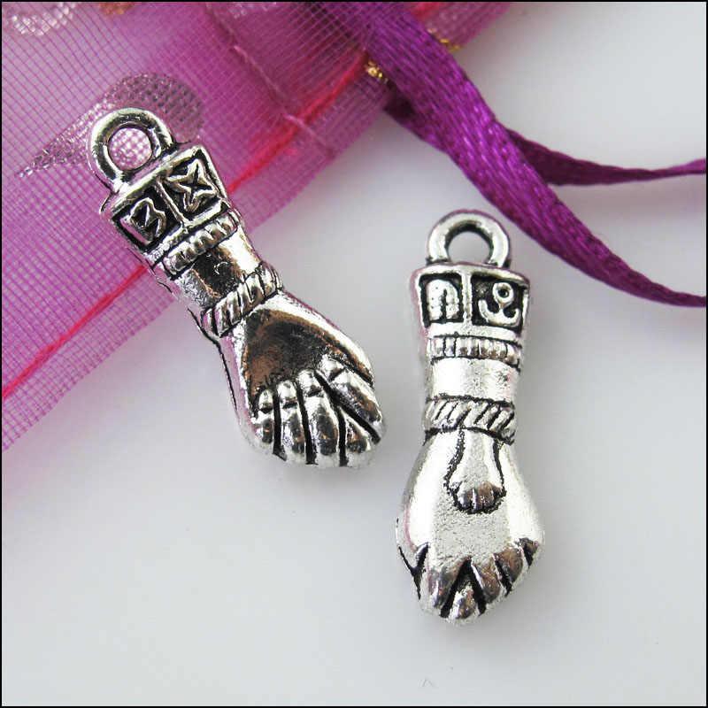 20Pcs Antiqued Silver Tone 3D Fist Hand Charms Pendants 7.5x22.5mm