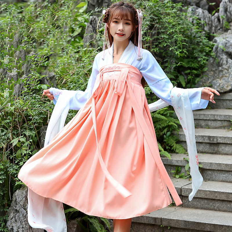 Hanfu Costume Dress Women Improved Hanfu Daily Short Sleeve Hanfu Embroidered Crossdresses Costumes Han Elements Student Set 28