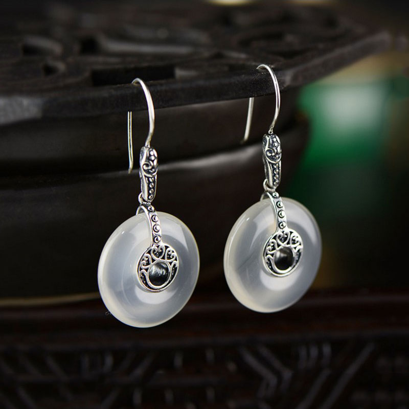 925 Silver Round Flat Earring Natural White Chalcedony Stone 100% S925 Sterling Silver boucle Drop Earrings for Women Jewelry metjakt bohemia natural agate white chalcedony drop earrings with zircon solid 925 sterling silver earring for women jewelry