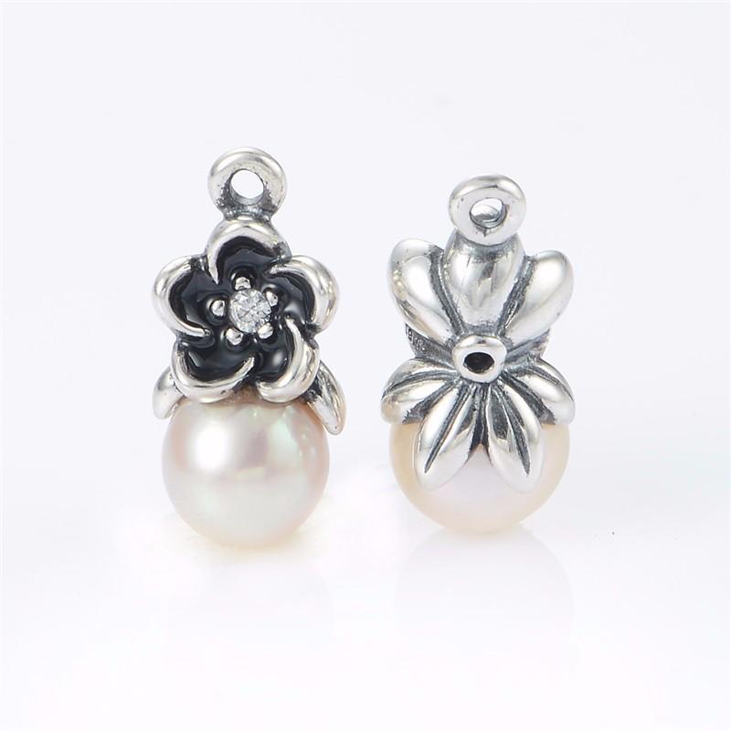 Original-925-Floral-pendientes-de-gota-blanca-perlas-y-piedra-CZ-de-la-joyería-Compatible-la