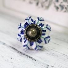 white and blue porcelain drawer cabinet knob pull antique dresser kitchen cabinet door handle ceramic knob