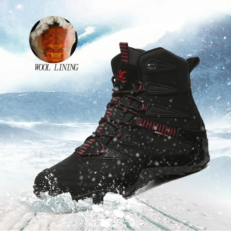 XIANGGUAN Winter Men Hiking Shoes Wool Lining Snow Boots Outdoor Hunting Boots Waterproof Mountaine Shoes Men