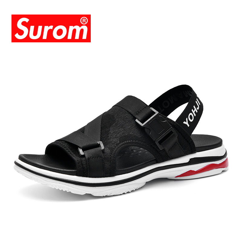 be58a13416c294 SUROM 2018 Men Sandals Male Beach Roman Sandals Brand Casual Shoes Leisure  Durable Flip Flops Breathable