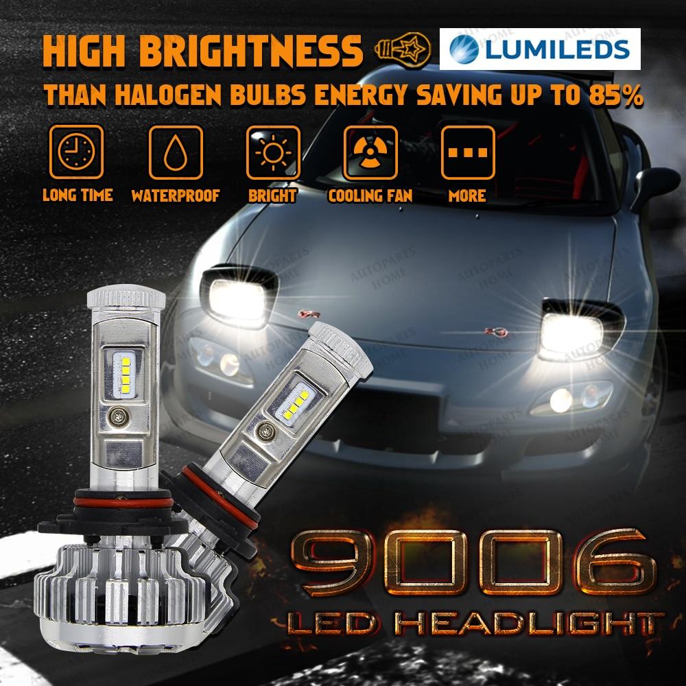 ФОТО For Philips LED Light Headlight Kit HB4 9006 High/Low Beam White 6000K Bulbs Kit Fog Headlights For Audi A6 A6 Q5 BMW 1 Series