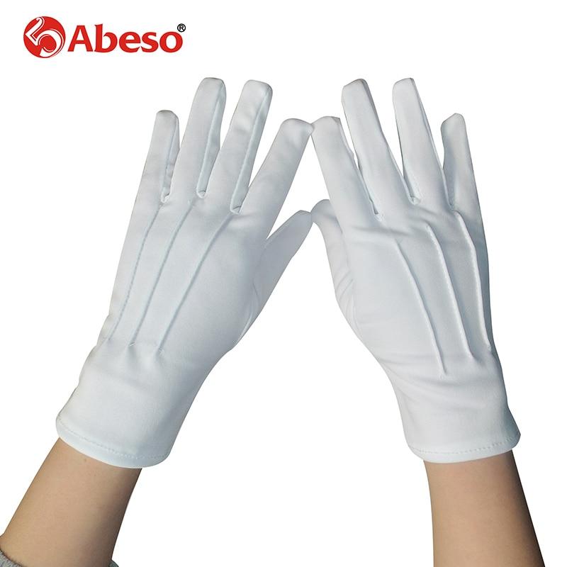 ABESO 10 Par Hvid dacron Ceremonielle handsker driver Magiker Server - Sikkerhed og beskyttelse - Foto 1