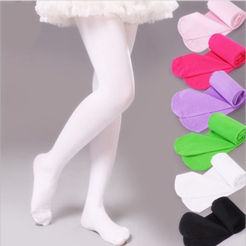 New 16 Candy Color Kids High Elastic Pantyhose Ballet Dance Tights For Girls Stocking Children Velvet Solid Pantyhose For Girls