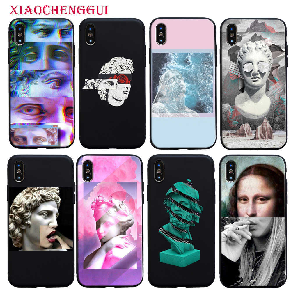 Art Mona Lisa David lines Customer High Quality Phone Soft silicone Case for iPhone 8 7 6 6S Plus X XS MAX 5 5S SE XR 11 pro max