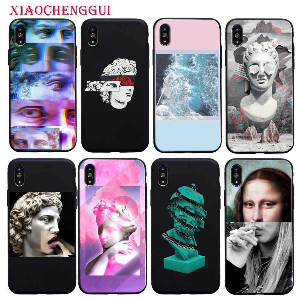 Seni Mona Lisa David Garis Pelanggan Telepon Berkualitas Tinggi Kasus Silicone Lembut untuk iPhone 8 7 6 6S PLUS X XS Max 5 5S SE XR 11 Pro Max